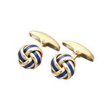 18k Gold Royal Blue Enamel Knot Cufflinks