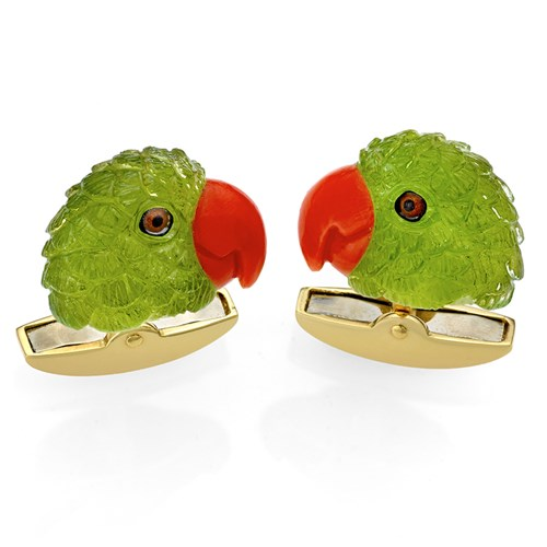 18k Gold Parrot Head Cufflinks with Peridot and Coral