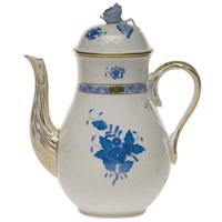 Herend Chinese Bouquet Blue Coffee Pot with Rose Finial, LArge