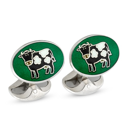 Sterling Silver Cow on Emerald Cufflinks