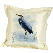 Handpainted Blue Herons Silk Pillows