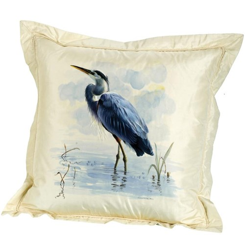 Handpainted Blue Herons Silk Pillow, Facing Left