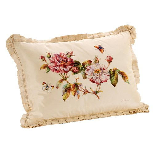 Roses on Cream Silk Pillow, Left