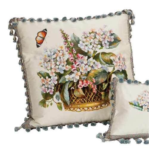 Fox Gloves Silk Pillow, Square