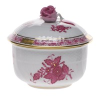 Herend Chinese Bouquet Raspberry Covered Sugar Bowl, Small