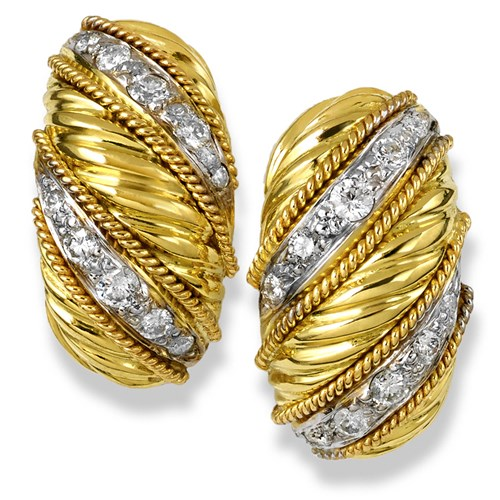18k Swirl Banded Gold Earrings with Diamonds, Clips