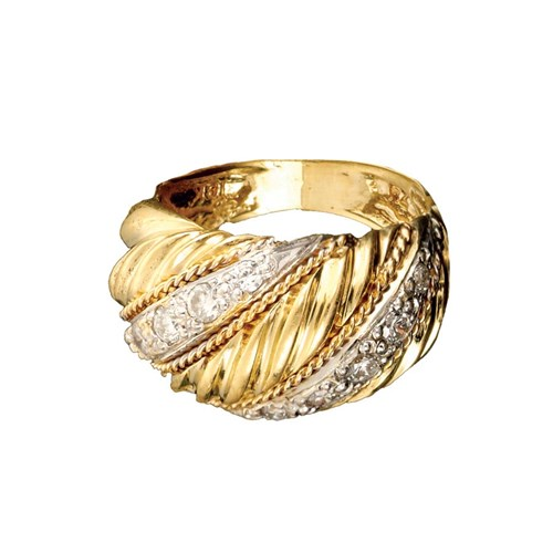 18K Yellow Gold Swirl Banded Diamond Ring