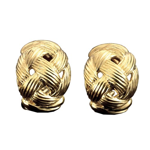 18K YG Oval Bsktweave Earrings Clips