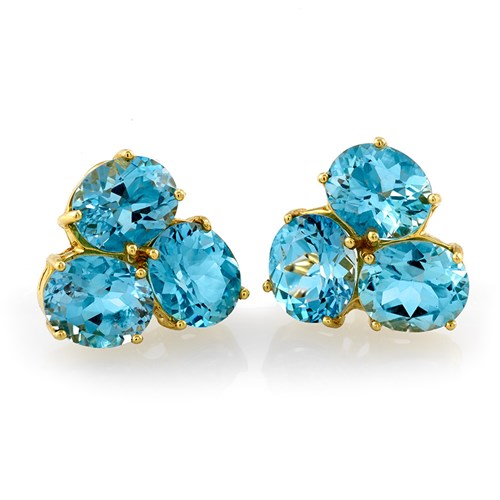 18k Gold Three-Stone Blue Topaz Earrings, Clips