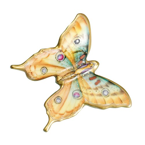 Porcelain Butterfly, Yellow with Polka