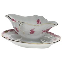 Herend Chinese Bouquet Raspberry Gravy Boat with Fixed Stand