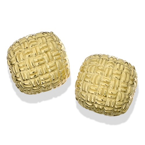 18k Gold Square Basketweave Cushion Clip Earrings