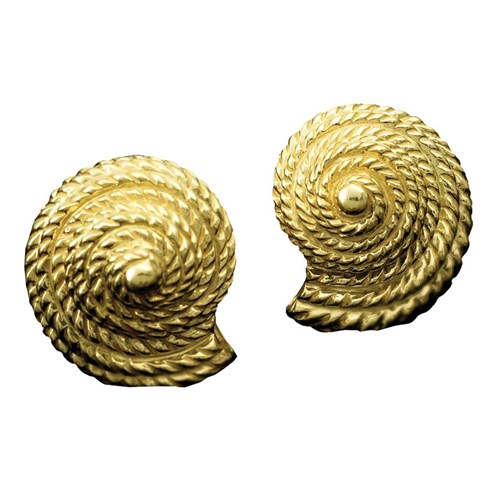 18k YG Twist Rope Cone Shell Clips