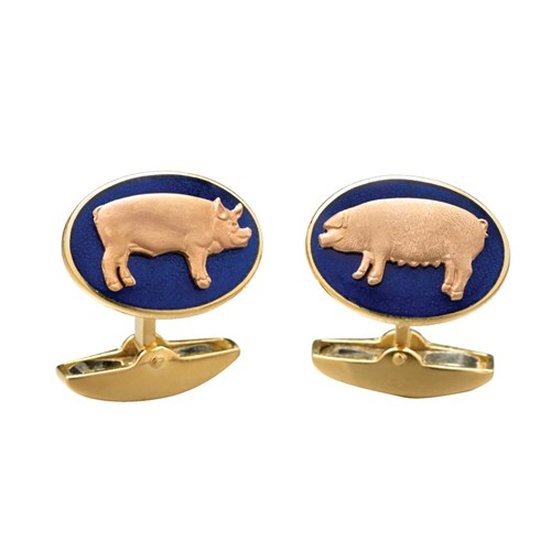 18k Rose Gold Blue Enamel Pig Cufflinks