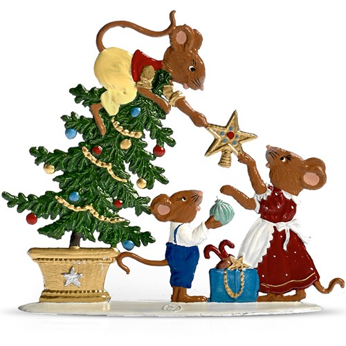 Pewter Mouse Family Decorating Tree