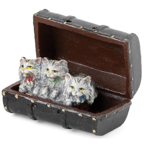 Austrian Bronze Three Cats in Old Suitcase