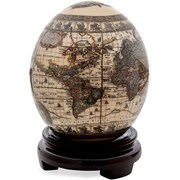 Decoupage Ostrich Egg with World Map