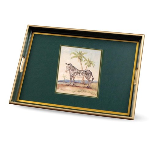 African Animals Zebra Glass Tray