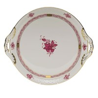 Herend Chinese Bouquet Raspberry Round Tray Handles