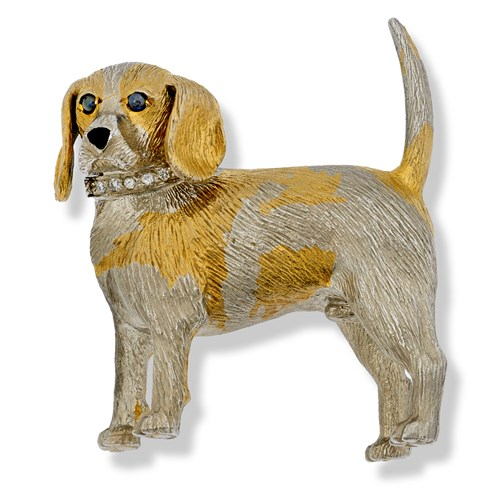 18k White & Yellow Gold Beagle Pin