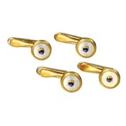 18k Gold Mother of Pearl & Sapphire Round Studs