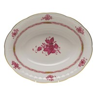 Herend Chinese Bouquet Raspberry Oval Open Vegetable Dish
