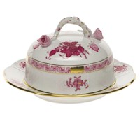 Herend Chinese Bouquet Raspberry Covered Butter Dish