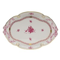 Herend Chinese Bouquet Raspberry Ribbon Tray