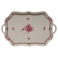 Herend Chinese Bouquet Raspberry Rectangular Tray with Branch Handles