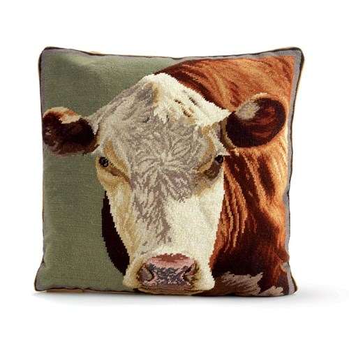 Hereford Cow Needlepoint Pillow