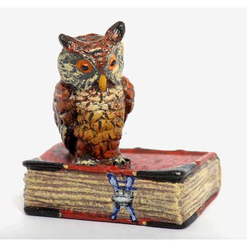 Austrian Bronze Owl on Red Book, Small Figurine