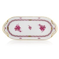 Herend Chinese Bouquet Raspberry Sandwich Tray