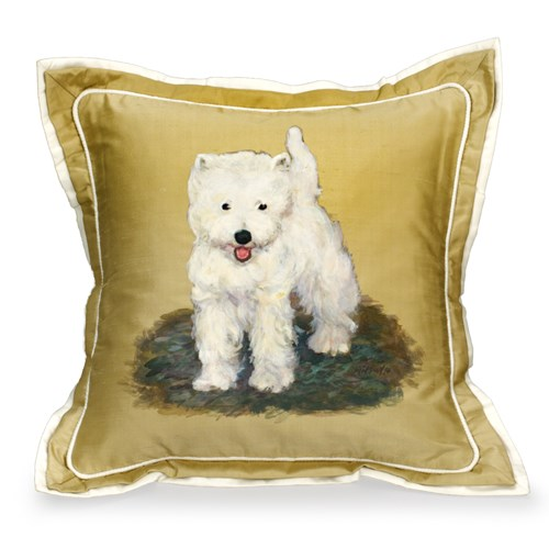 Handpainted West Highland Terrier # 1 Silk Pilllow