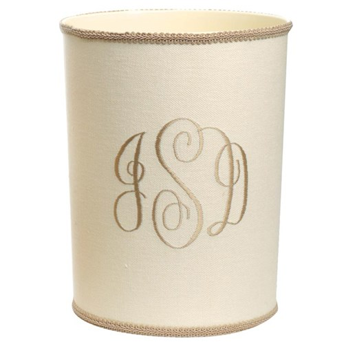 Champagne Monogram on Bone Linen Wastebasket & Tissue Box Cover