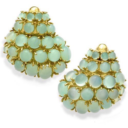 18k Gold Chalcedony Trocus Shell Earrings, Clips