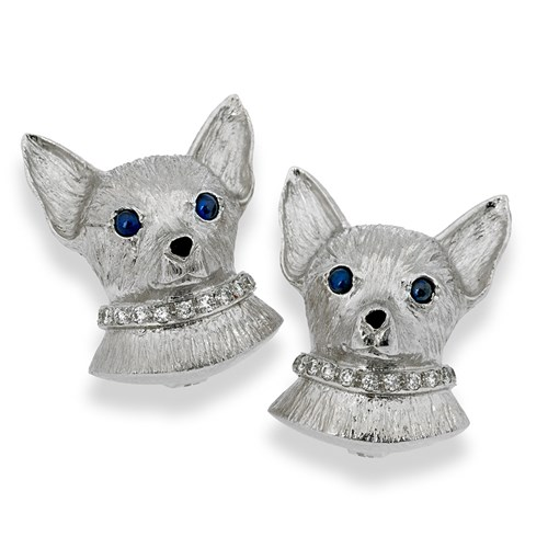 18k White Gold Chihuahua with Diamond Collar Earrings