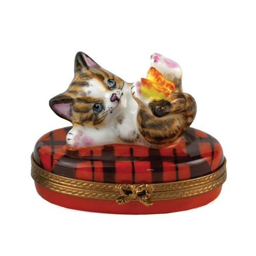 Kitten with Butterfly Limoges Box