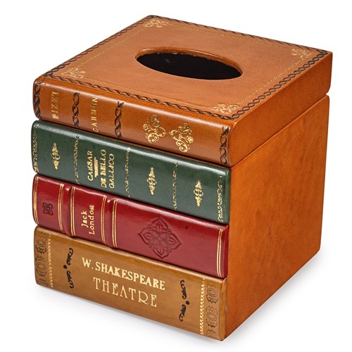 Leather Books Tissue Box Cover