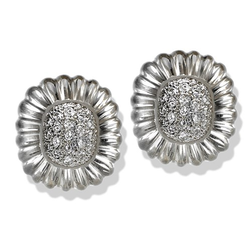 18k White Gold Carved Crystal Earrings with Diamonds