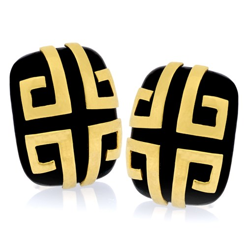 18k Gold Wood Aztec Design Earrings with Clips