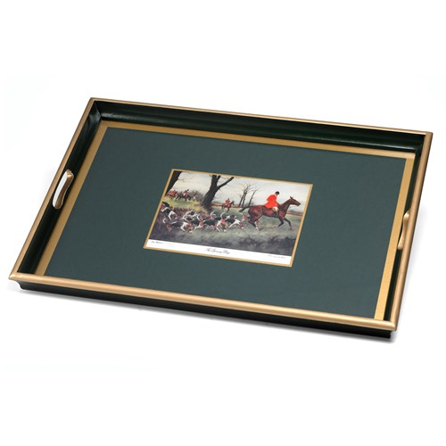 Hunt Scene Glass Based Tray, Green