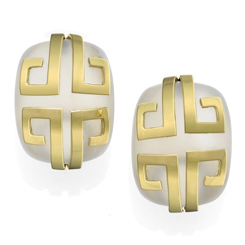 18k Gold Crystal Aztec Design Earrings with Clips