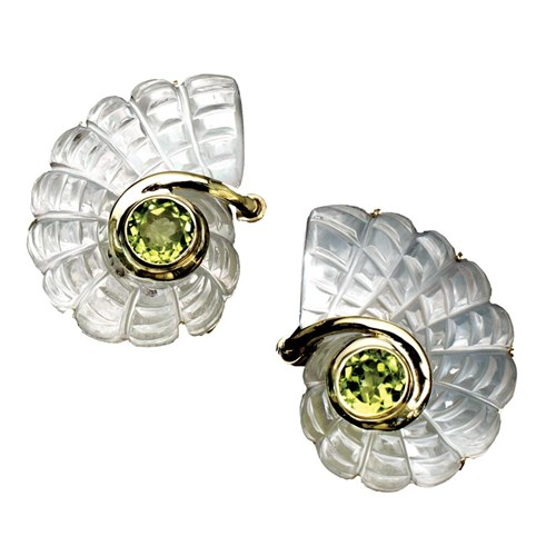 18k Gold Mother of Pearl & Peridot Earrings, Clips