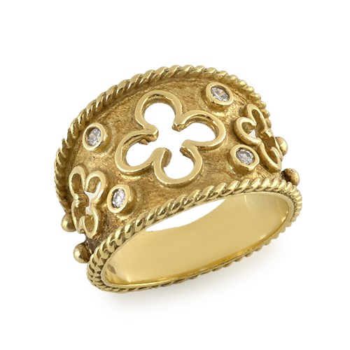 18k Open Clovers Ring