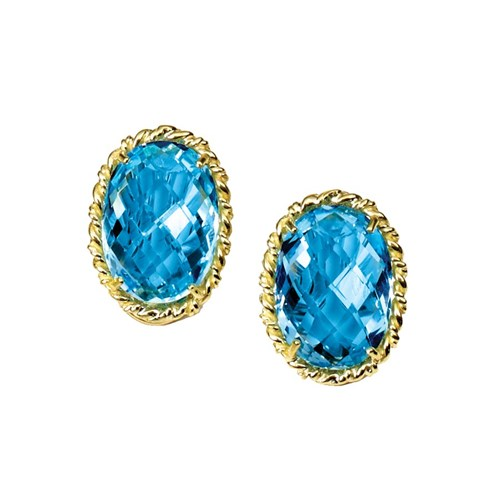 18k Gold Blue Topaz Earrings with Rope Border, Clips