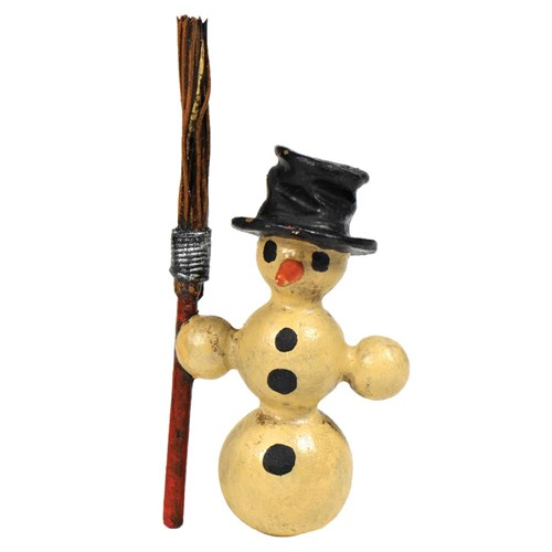 Austrian Bronze Snowman with Broom