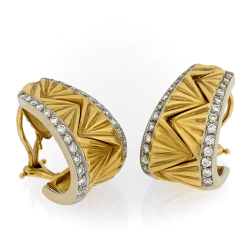 18k Large Yellow Gold Unity Earrings with Diamonds, Clips