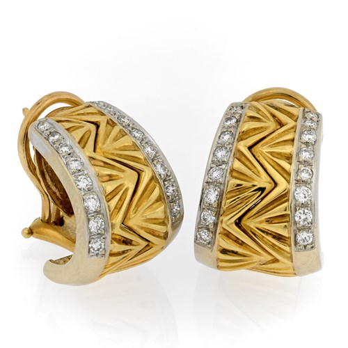 18KT YG Dia 0.54CT Unity Earrings Small Clips