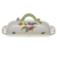 Herend Printemps Butter Dish with Branch Handle