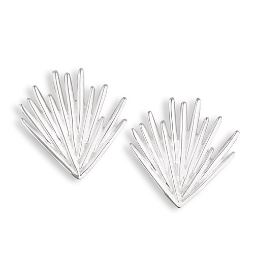 Christofle Palmaceae Frond Sterling Silver Earrings